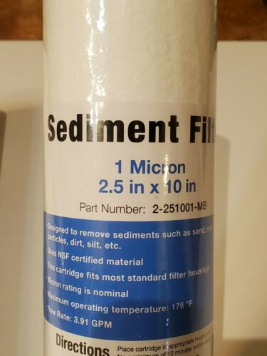 """1 Micron 10/"""" x 2.5/"""" Sediment 2 X Filters 10 Inch Water Filter 5 Micron"""