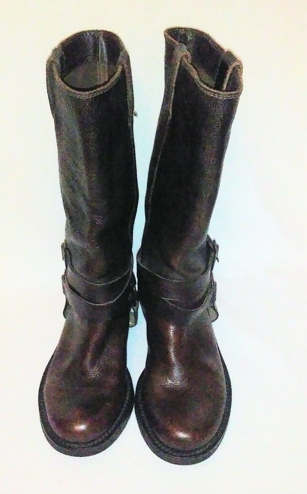 MIA OILED LEATHER DISTRESSED BOOTS SIZE 6.5 NICE BIKER RIDING BROWN