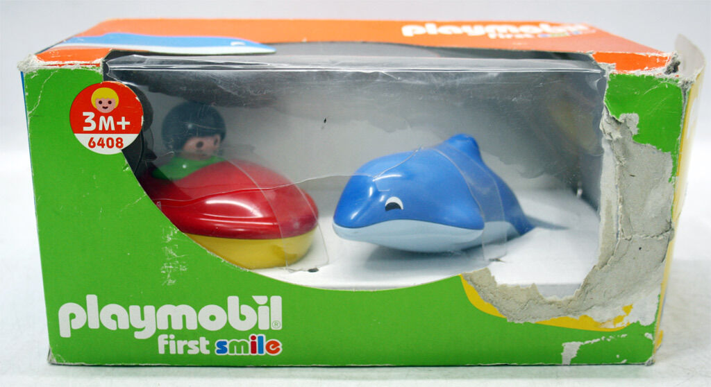 VERY RARE 2001 PLAYMOBIL FIRST SMILE 6408 BOAT & DOLFIN BABY BATH 3m+ NEW MIB