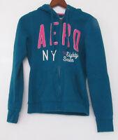 Aeropostale Eighty-Seven Small Womens Hoodie Blue/Green w/ Pink Aero Junior