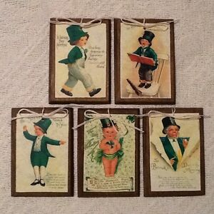5 Handcrafted Wooden St. Patrick's Day Ornaments/Irish Hang Tags/Gift Tags SET10