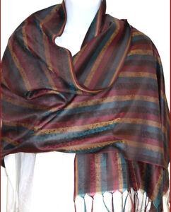 Banaras-Silk-Multi-color-Woven-Floral-Stripe-Shawl-Wrap-Stole-from-India