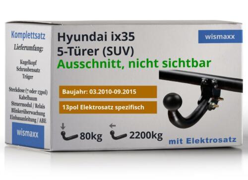 ANHÄNGERKUPPLUNG starr passend für Hyundai ix35 10-15 13polig E-Satz spezifisch