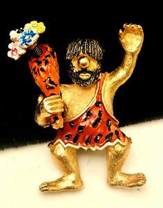 Rare-Vintage-Signed-Hattie-Carnegie-Enamel-Caveman-Trembler-Figural-Brooch-Pin