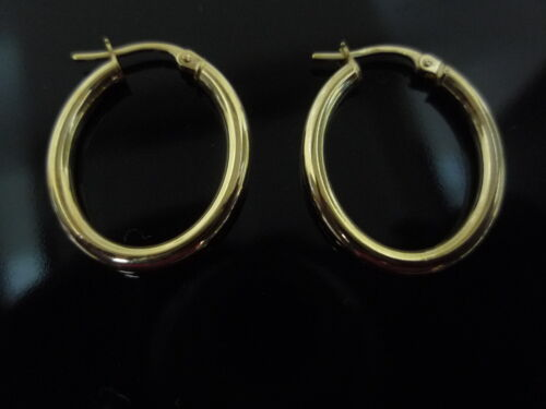 new 9ct yellow gold oval plain sleeper earring made in italy