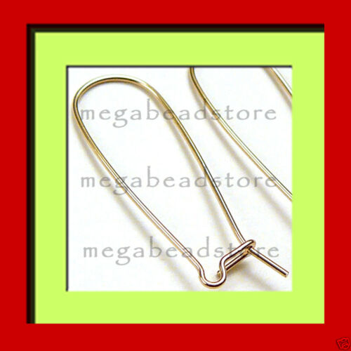 2 Pairs 35mm Long Gold Filled Kidney Ear Wire F195GFL