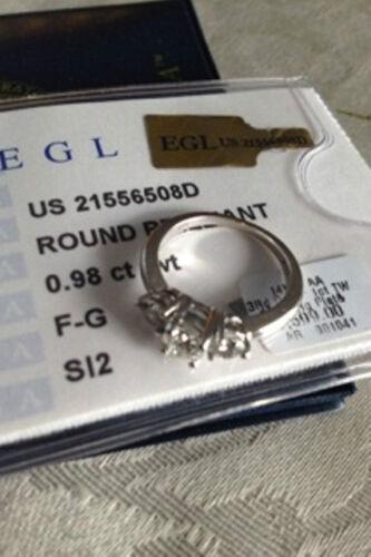 Three Stone Diamond Ring 14k White Gold and Platin