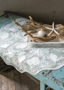 "Coastal Beach Heritage Lace White TIDEPOOL 42/"" Round Table Topper Seashells"