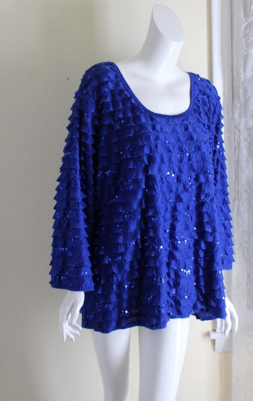 NWT Slinky Brand -Sz 3X Gorgeous Funky Artsy Blau Ruffle 3 4 Blouse Shirt Top