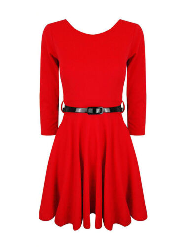 NUOVO donne Belted 3//4 Manica Corta Donna Svasato Franki partito skater dress Top 8-24