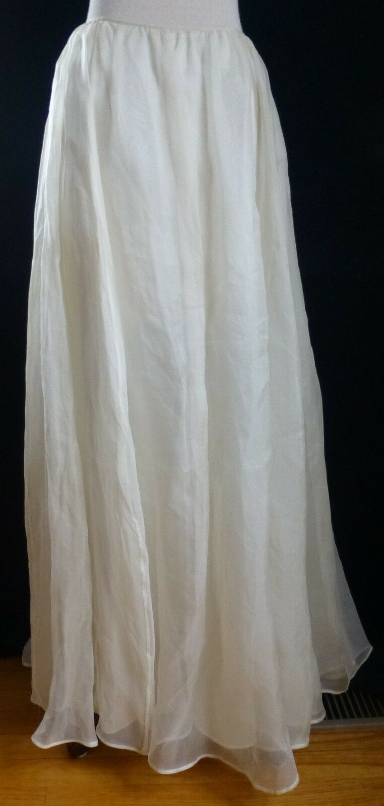 Shelli Segal Neiman Marcus Long Silk Maxi kjol Cream gul Woherrar Storlek 8 NWT
