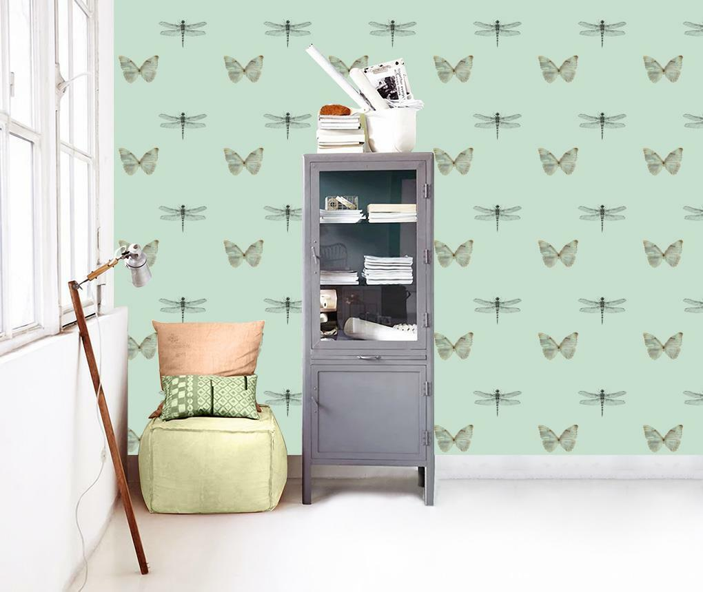 Butterflies & Dragonflies Wallpaper Woven Self-Adhesive Wall Art Mural T63