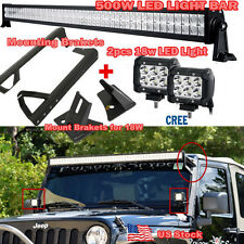 "CREE 52"" 500W +2X18W LED Light Bar +Mount Bracket for Jeep JK Wrangler 2007-2015"
