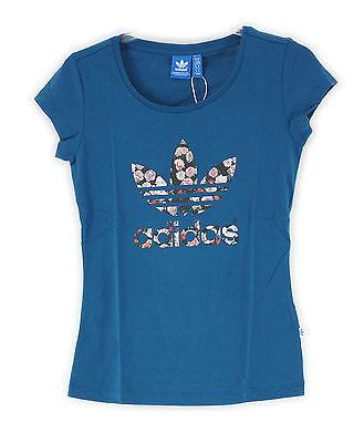 adidas Damen T-Shirt Trefoil Logo, Triblu, F78423,Farbe Blau, Gr. 32 XS