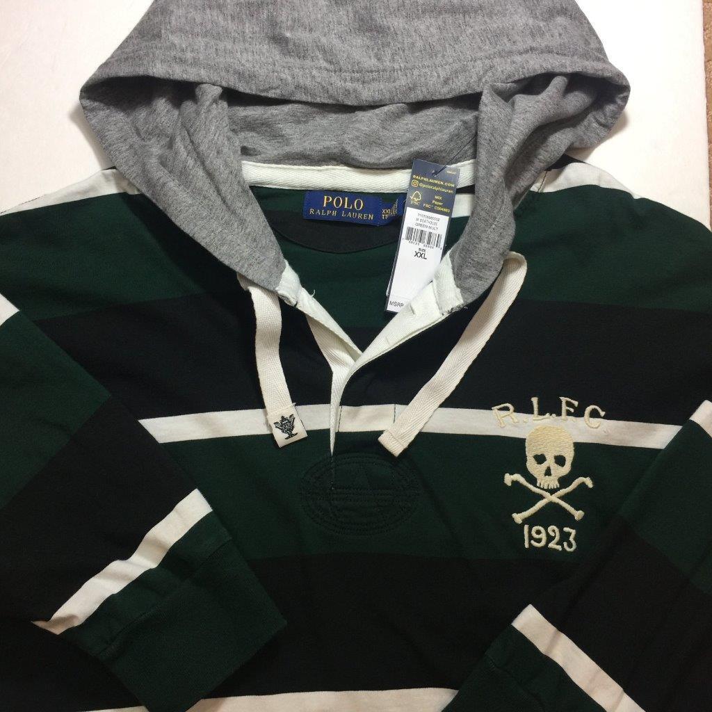 NWT POLO RALPH LAUREN Uomo verde Multi 98.5 Striped RLFC Skull Rugby Hoodie XL  98.5 Multi 8ddbc2