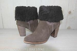 9d0fbfc52e8 Details about UGG CHARLEE LODGE SUEDE SHEEPSKIN HIGH HEEL ANKLE BOOTS US 11  NIB