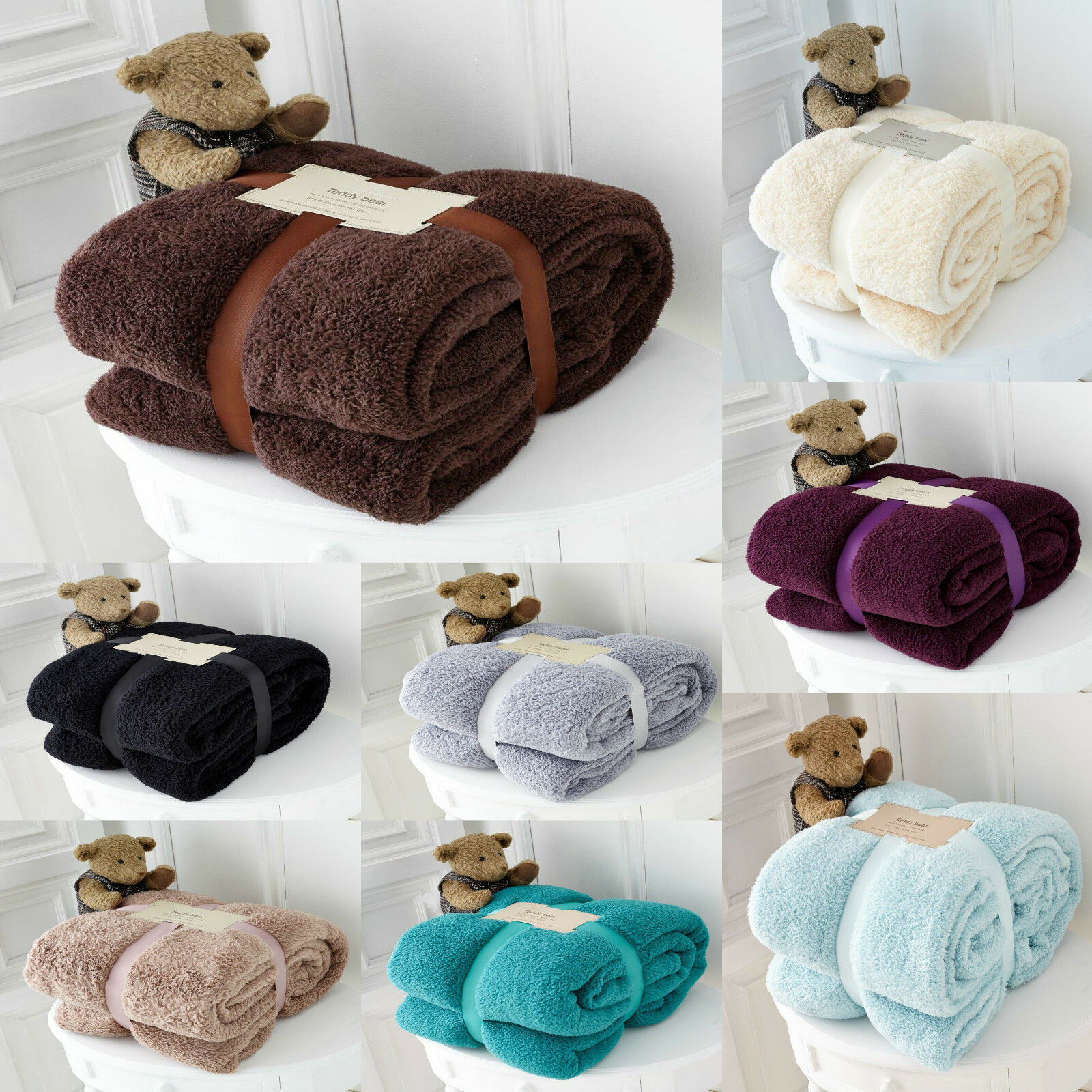 Luxury Soft Teddy Bear Throw Blanket Cuddly Thick Winter Warm Sofa