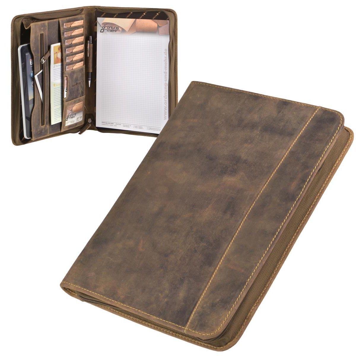 Grünburry Vintage Schreibmappe A4 Leder braun mit Reißverschluss + Münzbox | Moderater Preis  | Vorzüglich  | Trendy