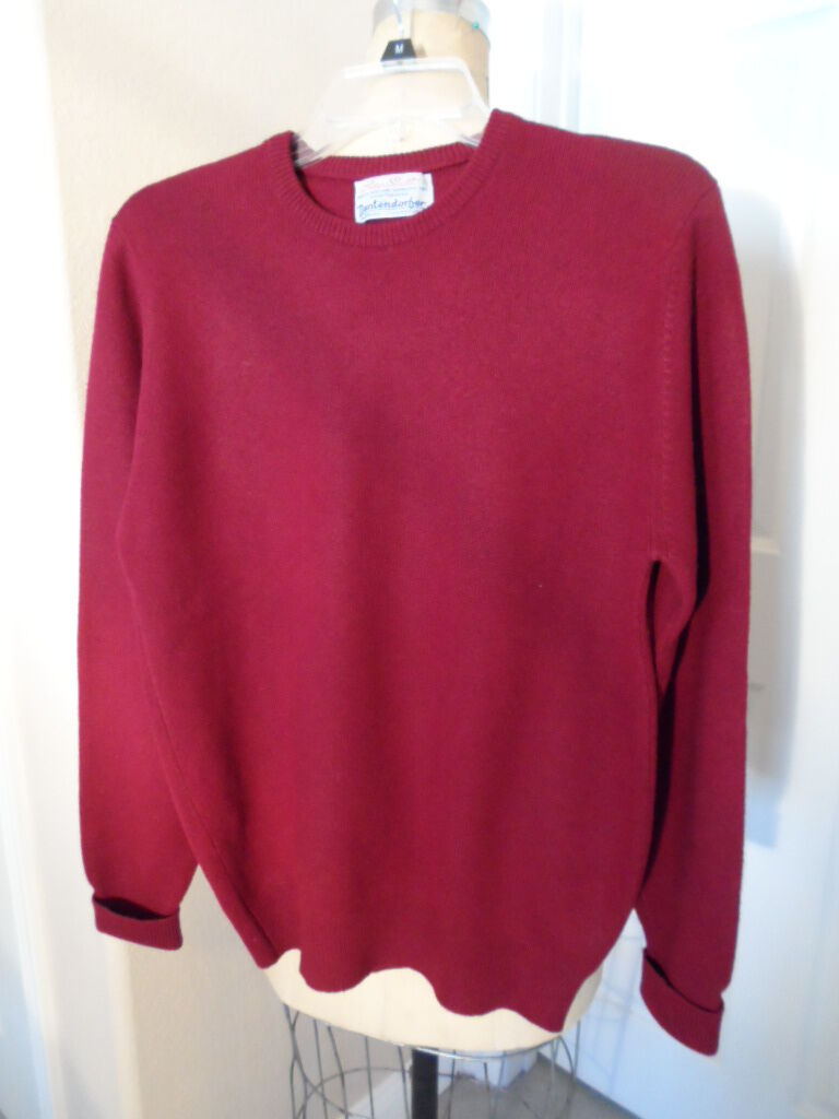 PETER SCOTT 100% BURGUNDY CASHMERE Herren SWEATER MADE IN SCOTLAND