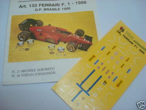 FERRARI F1 86 GP BRASILE 1986 1//43 DECALS
