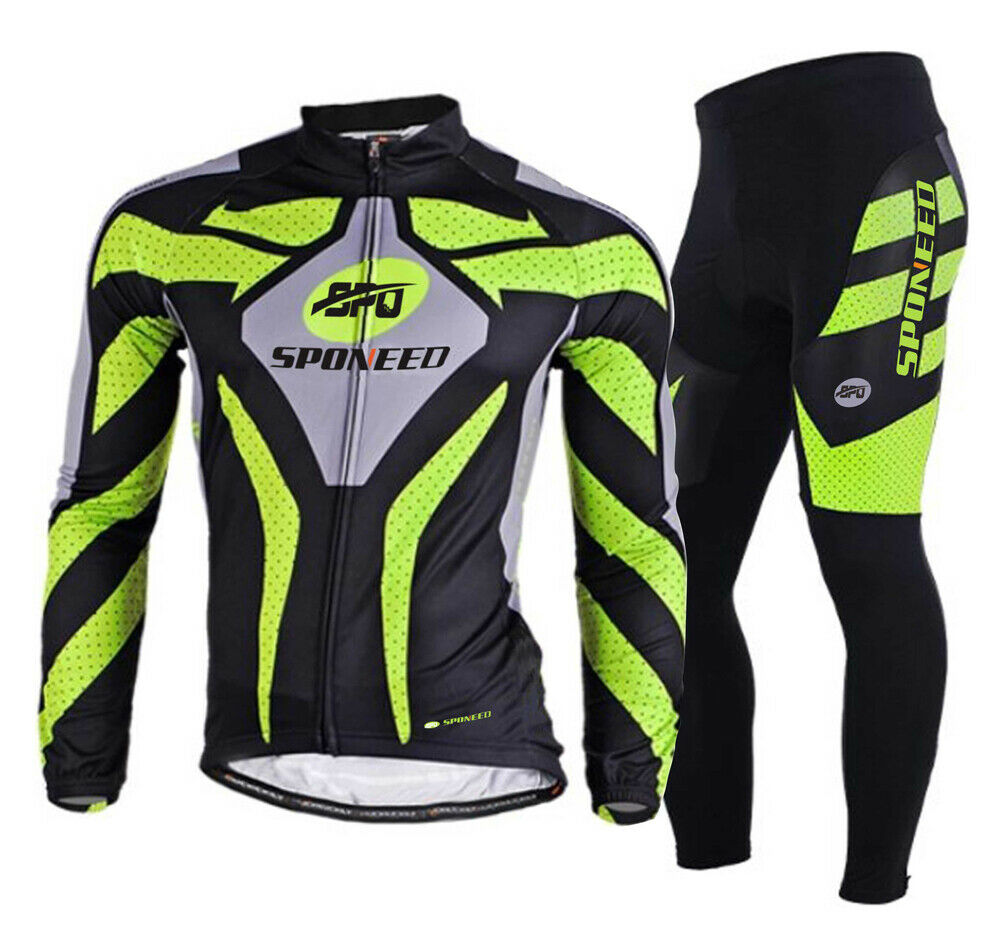Sports Cycling Long Sleeve Jersey Pants Sets Padded Biking Apparel Suits M3XL