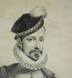 Antique Print Charles Ix Roi De France Fils Catherine D Médicis Valois-angoulême Jolie Et ColoréE