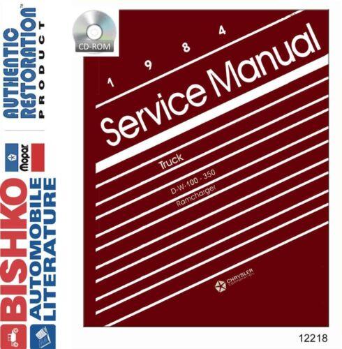 1984 Dodge D//W 100-350 Truck /& Ramcharger Shop Service Repair Manual CD Engine