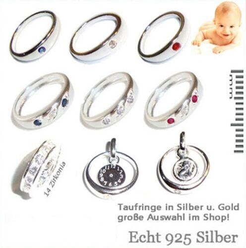 Mädchen Baby Taufe Zirkonia Taufring mit Herz Anhänger und Kette Echt Silber 925