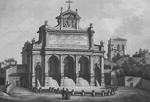 1830s-VIEW-OF-ROME-Pauline-Fountain-Acqua-Paola-Antique-Print-Copperplate