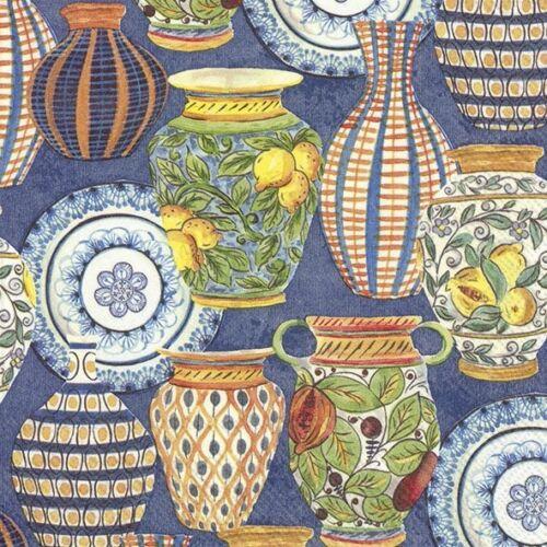 4 xSingle Paper Table Napkin//33cm//3-Ply//Decoupage//Orange//Blue//Pottery//Urns//Vases