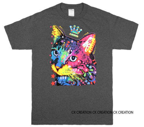 Thinking Cat Crowned Amimal Pet Lover  Graphic T shirt Tee