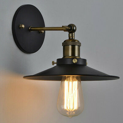 Vintage Industrial Style Metal Wall Mount Lamp Light Edison Bulb 23CM Shade