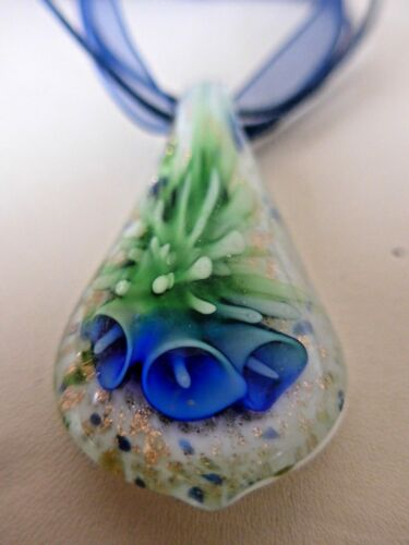 Lovely Lily Flower Lampwork Murano Glass Pendant Cord Ribbon Necklace Handmade