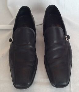 264459d490 Details about Prada Men's Black Dress Shoes Loafers Slip On Silver Buckle  Round Toe Size 8.5