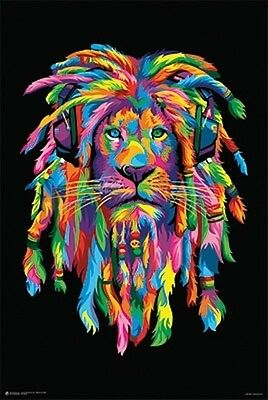 LION RASTA DJ RAINBOW - BOB WEER - POSTER (91x61cm)  NEW WALL ART