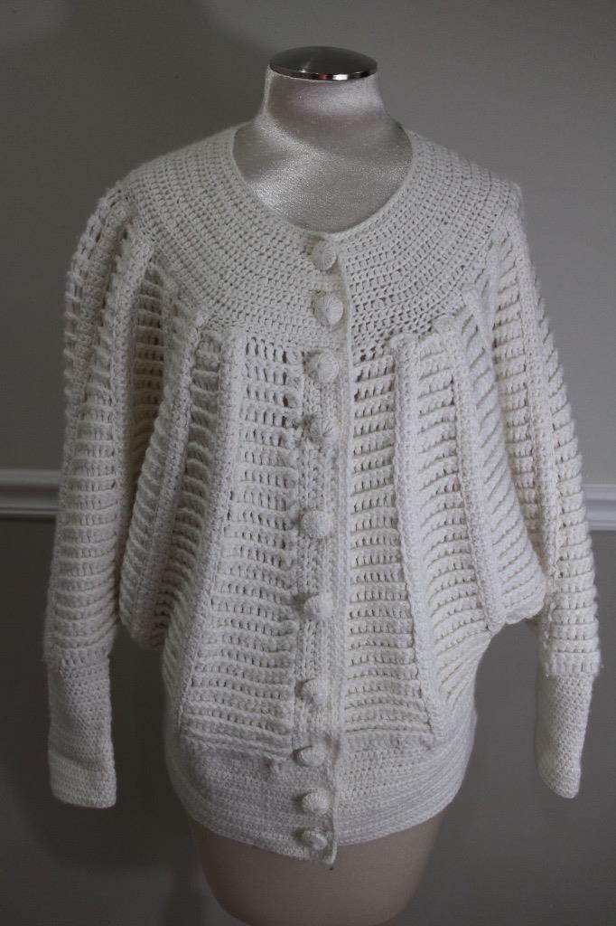 REBECCA TAYLOR Women's Cream Knit DOLMAN SLEEVES Sweater Size L (SW300