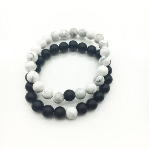 Wholesale 2 Pcs Matte Black White Bracelet Couple Friend Bracelet Set