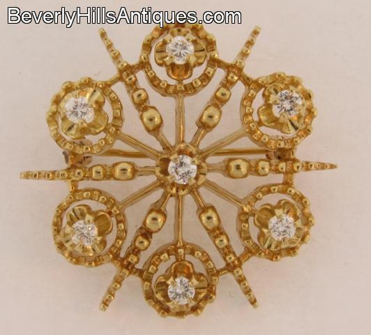 Beautiful 7 Diamonds 14k gold Pendant Brooch Snowflake Design