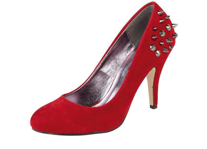 Anne Michelle L2247 Ladies Red Faux Suede Heeled Court w/Stud Heel (R34B)(Kett)