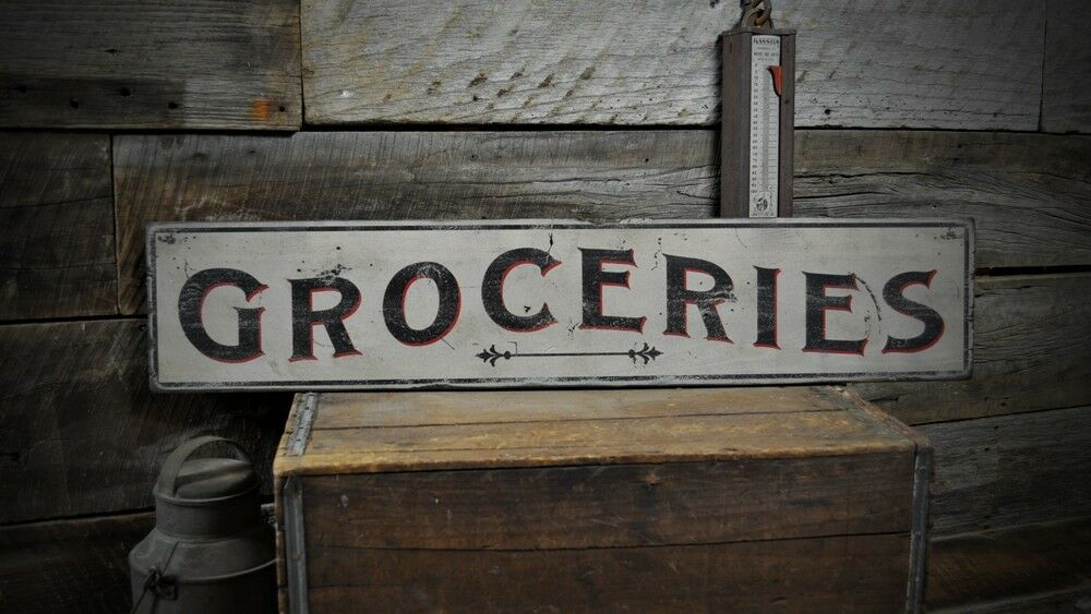 Primitive Aged Groceries Sign - Rustic Hand Made Vintage Wooden Sign ENS1000446