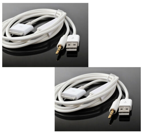 2X 4FT USB 3.5MM AUX SYNC CHARGER WHITE CABLE IPHONE 4S 4 IPOD TOUCH NANO IPAD