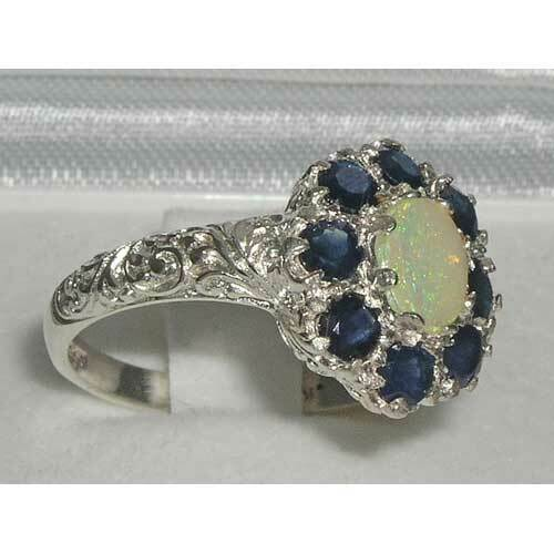Details about  /Solid 925 Sterling Silver Natural Opal /& Sapphire Womens Cluster Ring