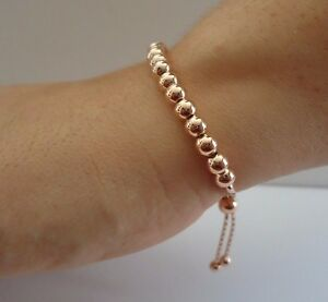 14K-ROSE-GOLD-OVER-925-STERLING-SILVER-ROUND-BEADED-BRACELET-8-039-039-ADJUSTABLE