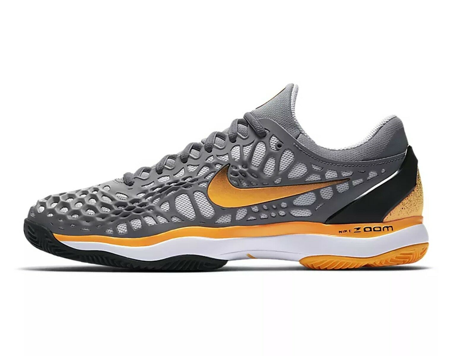shoes TENNIS men NIKE  918192 003  AIR ZOOM CAGE 3 CLAY COOL GREY LASER orange
