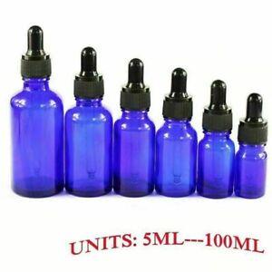 5ML-100ML-Blue-Glass-Reagent-Liquid-Pipette-Bottle-Eye-Dropper-Aromatherapy