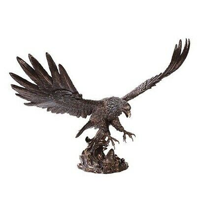 "19/"" Large Bald Eagle Catching Fish Statue Colored Finish Resin Statue Figurine"