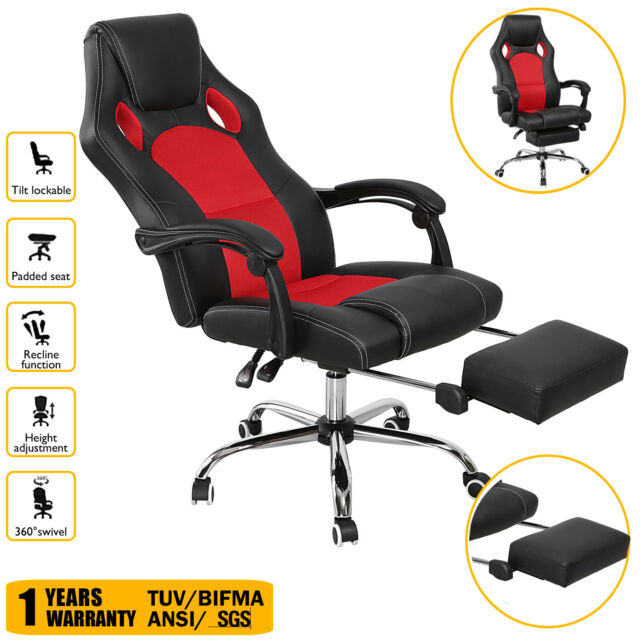 Executive Office Chair Ergonomic High Back Reclining Leather Footrest Armchair