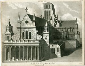 South-West-View-Of-Old-St-Pauls-Engraving-By-Chapman