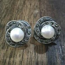 925 Sterling Silver Stud Earring with Swiss Marcasite and Freshwater Pearl