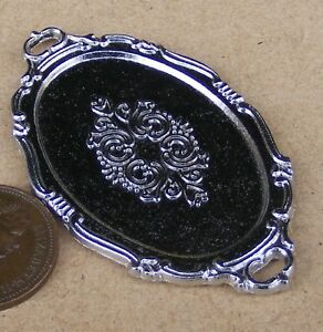 1-12-Scale-5-8cm-x-3-4cm-Oval-Silver-Metal-Tray-Tumdee-Dolls-House-Kitchen